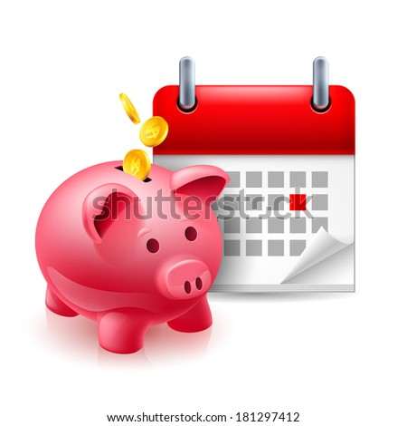 Raster version. Time and money icon with piggy bank and calendar - stock photo