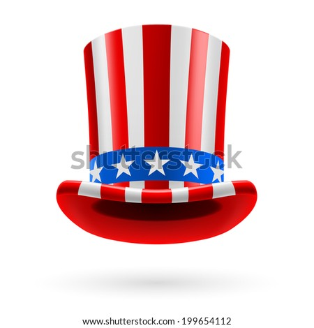 Raster version. Top hat made of United States flag. Uncle Sam hat. - stock photo