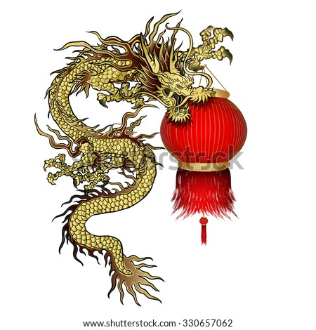 raster version Traditional Chinese dragon with Chinese lanterns in the paw. Isolated object can be used with any image or separately. - stock photo