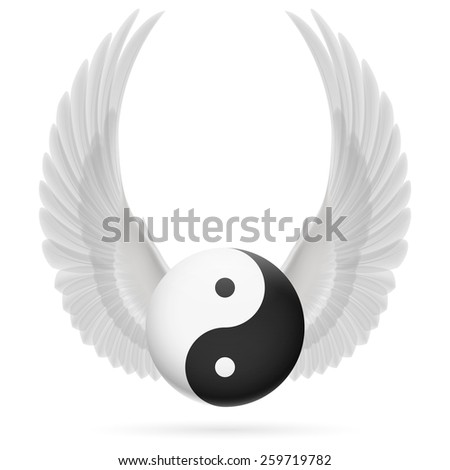 Raster version. Traditional Chinese Yin-Yang symbol with raised up white wings - stock photo