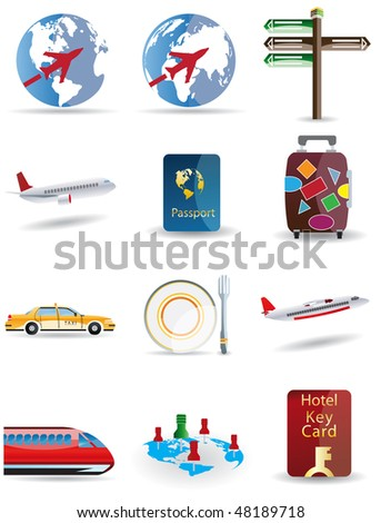 Raster version Travel and globe icons - stock photo