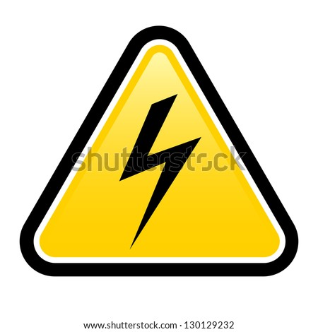 Raster version. Triangle sign with high voltage symbol isolated on white - stock photo