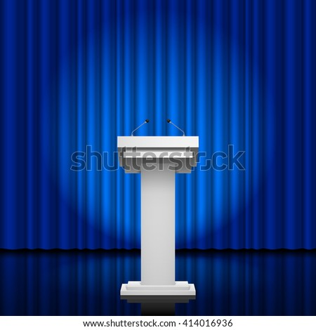 Raster version. Tribune for the performance of speech on a blue background - stock photo