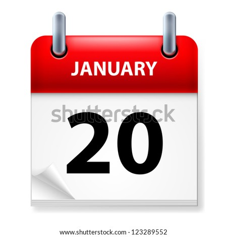 Raster version. Twentieth January in Calendar icon on white background