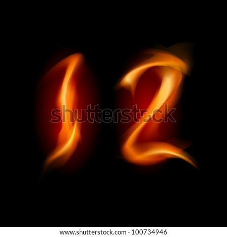 Raster version. Two alphabet symbol of fire - numbers one and two. Illustration on white background - stock photo