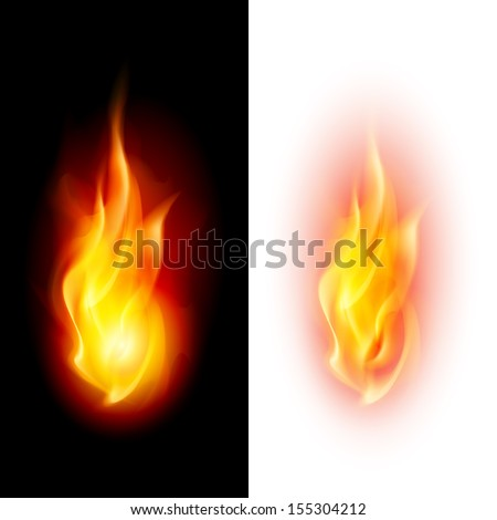 Raster version. Two fire flames on contrast black and white backgrounds. - stock photo