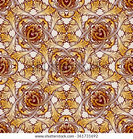 Raster version. Very saturated seamless abstract floral pattern in the form of vine - stock photo