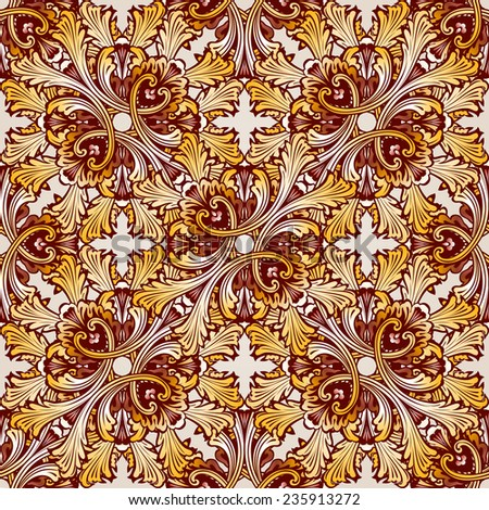 Raster version. Very saturated seamless the abstract  floral pattern  - stock photo