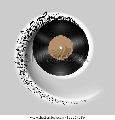 Raster version. Vinyl disc with music notes flying out in white spiral. Effect of rolling record. Illustration on gray background. - stock photo