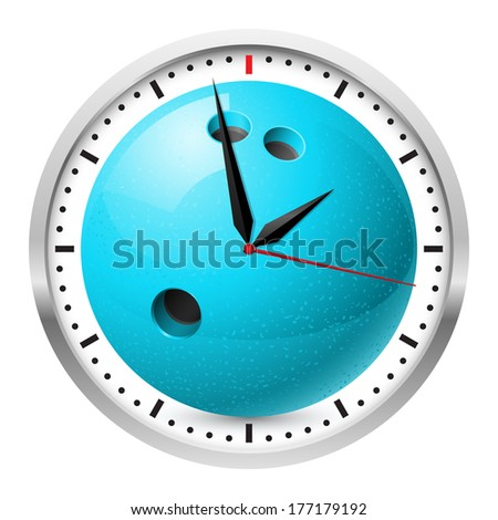 Raster version. Wall clock. Bowling style. Illustration on white background for design