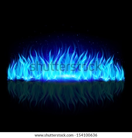 Raster version. Wall of blue fire with weak reflection on black background. - stock photo