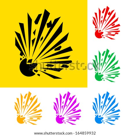 Raster version. Warning sign of explosion with color variations - stock photo