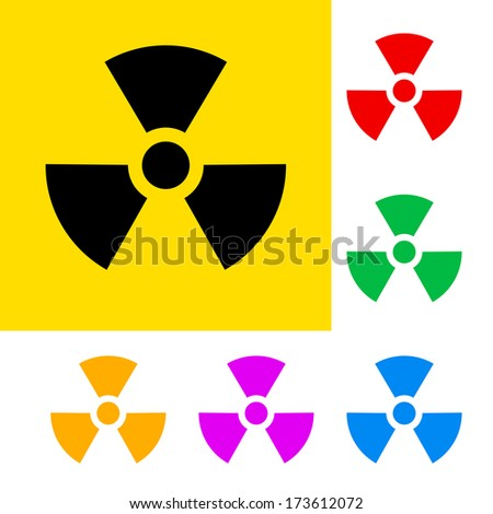 Raster version. Warning sign of radiation with color variations.  - stock photo