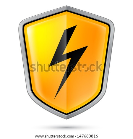 Raster version. Warning sign on shield, indicating of High voltage. Illustration on white - stock photo