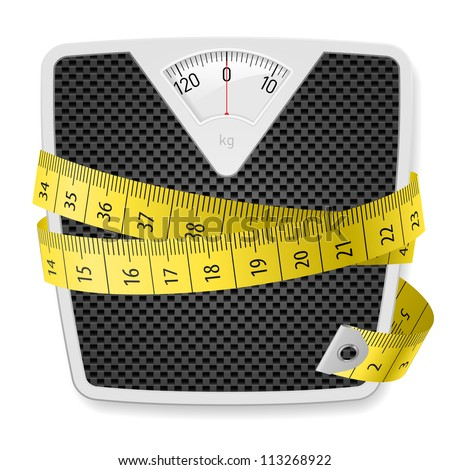 Raster version. Weights and tape measure. Illustration on white background - stock photo