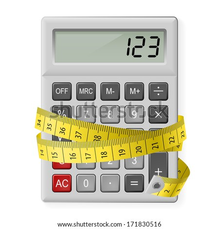 Raster version. White calculator with measuring tape as symbol of counting calories. - stock photo