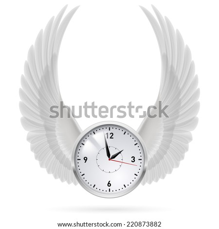 Raster version. White clock with vertical white wings. Swing.  - stock photo
