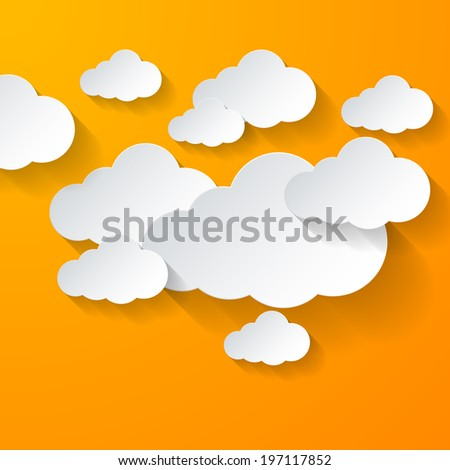Raster version. White clouds on bright orange background. Cloud computing - stock photo