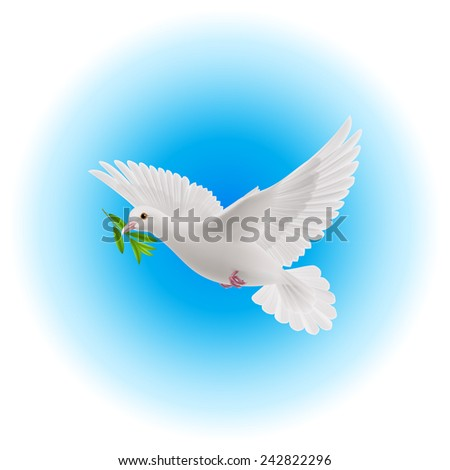 Raster version. White dove flying with green branch in its beak in blue sky  - stock photo