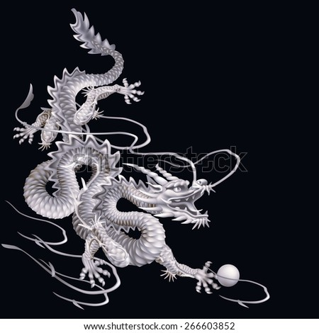 Raster version / White Dragon running down diagonally on a black background - stock photo