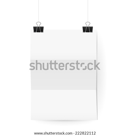 Raster version. White paper sheet folded in three hangs on paper clips against white wall  - stock photo