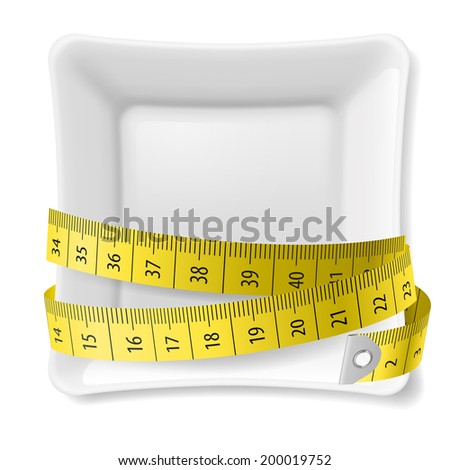 Raster version. White square plate with tape measure around over white - stock photo