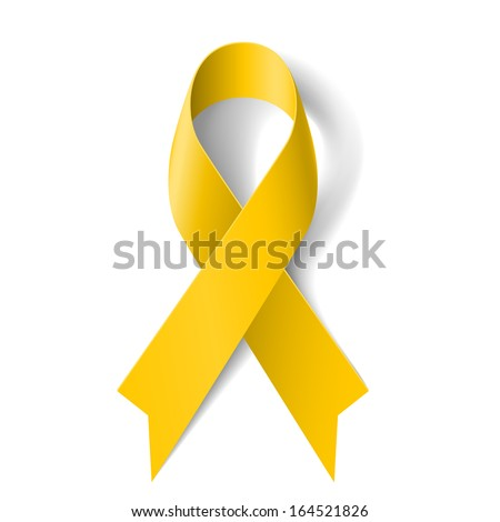 Raster version. Yellow awareness ribbon on white background. Bone cancer and troops support symbol. - stock photo