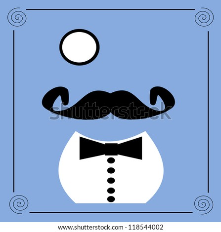 raster vintage graphic design of gentleman with monocle and bow tie - stock photo