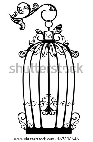 raster - vintage looking open birdcage with a free bird - black and white decorative outline (additional format also available) - stock photo