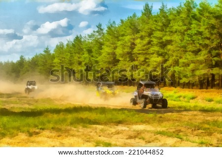 Raster watercolor illustration of a buggy race cars in motion. - stock photo