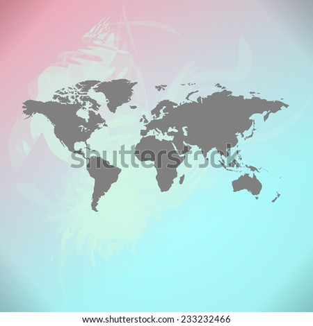 Raster watercolor World Map background - stock photo