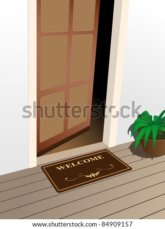 raster welcome mat on the porch, vector version available - stock photo