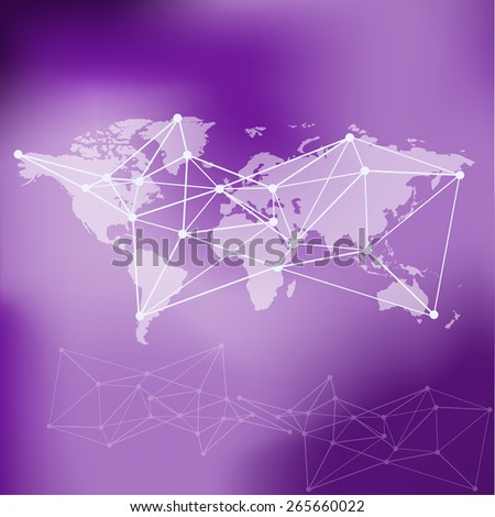 Raster World Map background with blue blur background