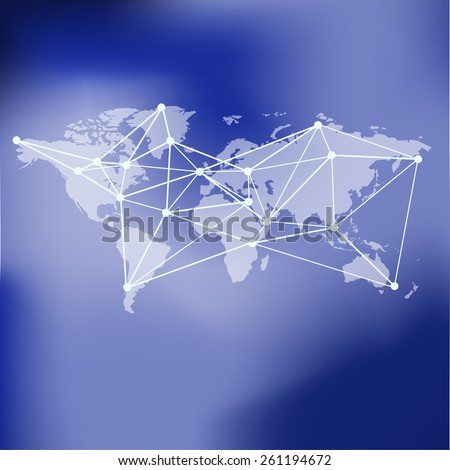 Raster World Map background with global network abstract image on blurred background - stock photo