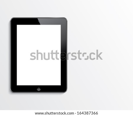 rasterized version. computer tablet with blank white screen.  realistic illustration. - stock photo
