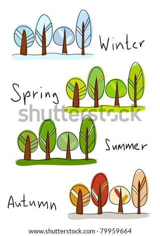 Rasterized version of vector illustration. Four seasons - winter, spring, summer and autumn - stock photo