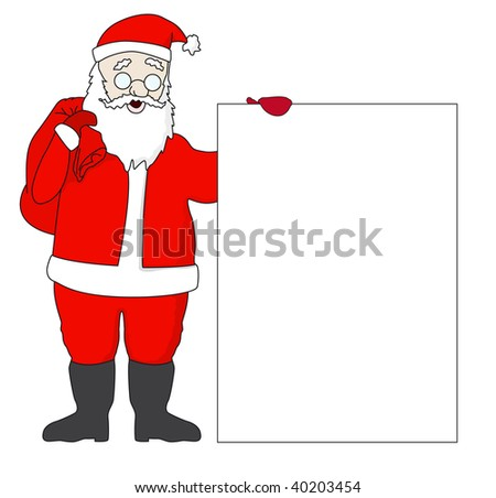 Rasterized versions. Cute Santa Claus with a list with free space for your text - stock photo