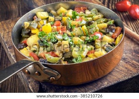Ratatouille in Copper Casserole