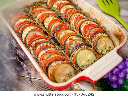Ratatouille - traditional french provencal vegetable dish cooked - baked vegetables - stock photo