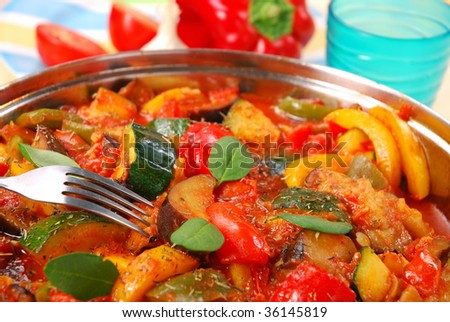 ratatouille with aubergine,zucchini,paprika and tomato - stock photo