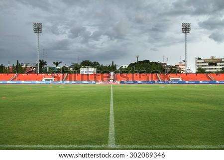 RATCHABURI THAILAND-AUGUST 1:View of Ratchaburi Stadium during Thai Premier League between Ratchaburi F.C.and Bangkok UTD F.C. at Ratchaburi Stadium on August 1,2015 in Thailand - stock photo