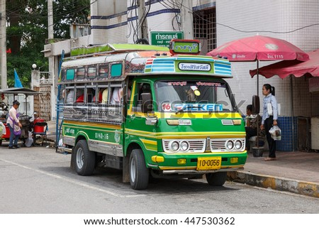 RATCHABURI, THAILAND-JULY 3, 2016: local bus in Ratchaburi town, running regular routes 3089 Ratchaburi - Khao Chong Pran.