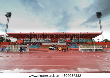RATCHABURI THAILAND-OCTOBER 1:View of Ratchaburi Stadium during Thai Premier League between Ratchaburi F.C.and Bangkok UTD F.C. at Ratchaburi Stadium on October 1,2015 in Thailand - stock photo