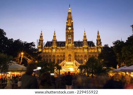 Rathaus and christmas market in Vienna Austria - stock photo