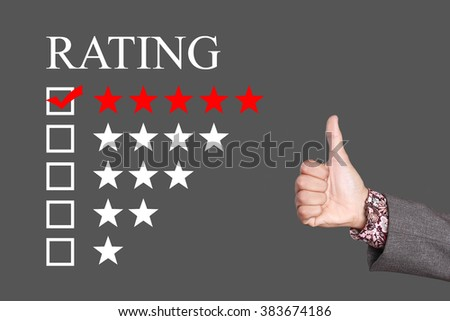 Rating - Five Stars Rating with thumb up. Grey Background