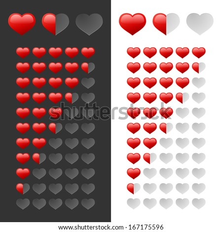 Rating Hearts Set. Raster Version - stock photo