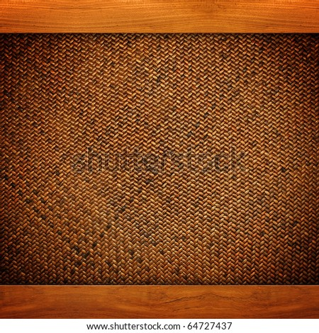rattan background with wood frame - stock photo