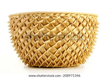 rattan basket on white background - stock photo