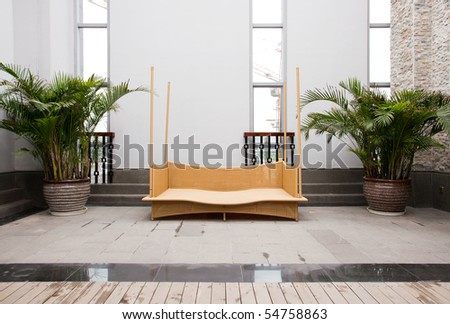 Rattan furniture in home - stock photo