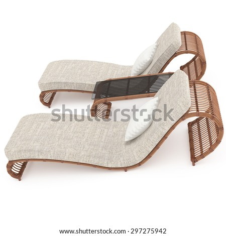 rattan furniture with a table on a white background for a comfortable outdoor recreation 3d